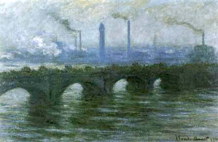 Claude Oscar Monet - Waterloo Bridge, bedeckter Himmel