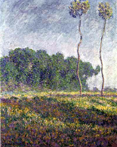 Claude Oscar Monet - Wiese mit zwei Pappeln