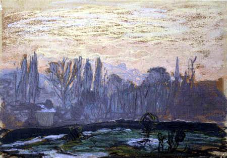 Claude Oscar Monet - Winterliche Landschaft mit Abendhimmel