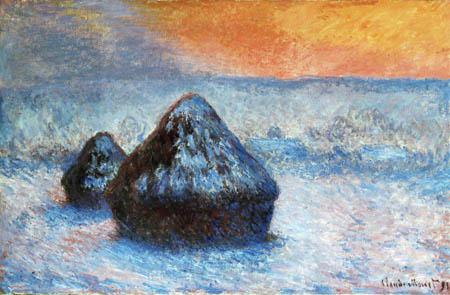 Claude Oscar Monet - Getreideschober im Schnee