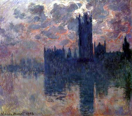 Claude Oscar Monet - Das Parlament, Sonnenuntergang