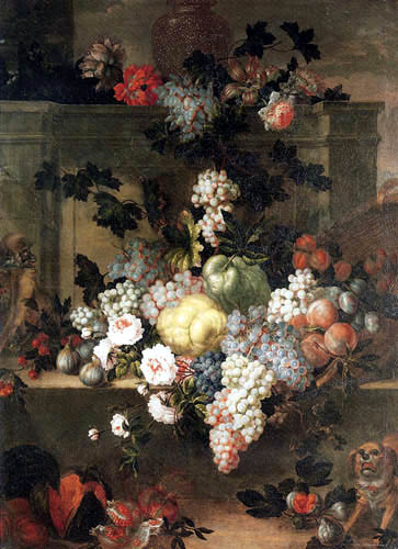 Jean Baptiste Monnoyer - Peonies and fruits on a ledge with a monkey and dog