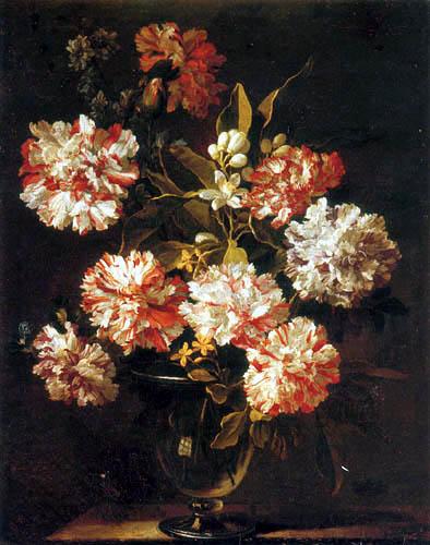 Jean Baptiste Monnoyer - Carnations in a glass vase