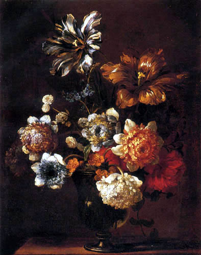 Jean Baptiste Monnoyer - Parrot tulips and other flowers in a glass vase