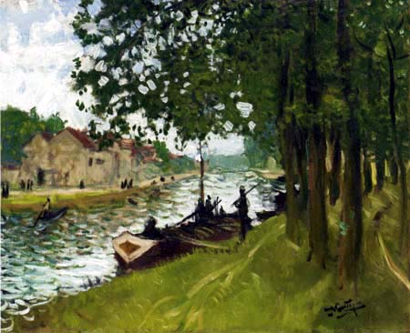 Pierre Eugène Montézin - River boats at Saint-Mammes