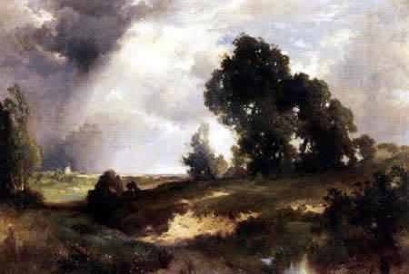Thomas Moran - Vorüberziehender Regen, East Hampton