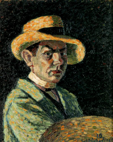 Wilhelm Morgner - Selfportrait with straw hat