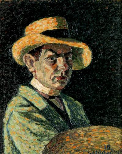Wilhelm Morgner - Selbstbildnis mit Strohhut