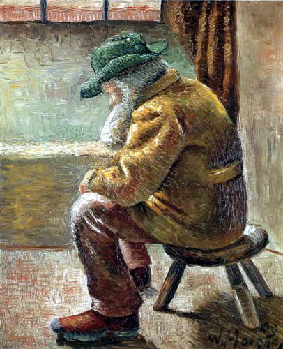 Wilhelm Morgner - A old man on the stool