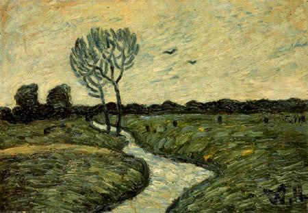 Wilhelm Morgner - Blue yellow riverlandscape