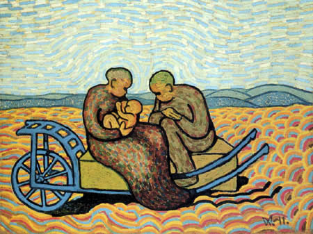 Wilhelm Morgner - The family on the cart