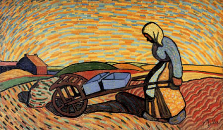 Wilhelm Morgner - Woman with a barrow
