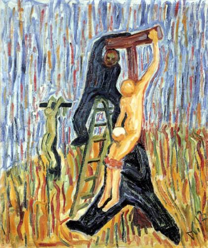 Wilhelm Morgner - Kreuzabnahme mit zwei Männern