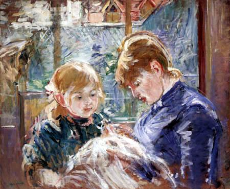 Berthe Morisot - Tochter Julie mit Kindermädchen