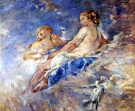 Berthe Morisot - Venus mit Engel und Tauben