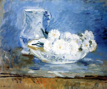 Berthe Morisot - Weiße Blumen in einer Schale