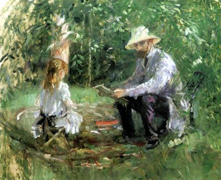Berthe Morisot - Eugène Manet with his daughter