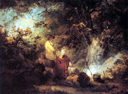 George Morland - Gypsies by a camp fire