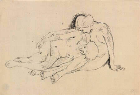Koloman Moser - Sketch of Two Young Women