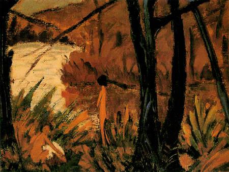 Otto Mueller - Waldsee mit zwei Akten