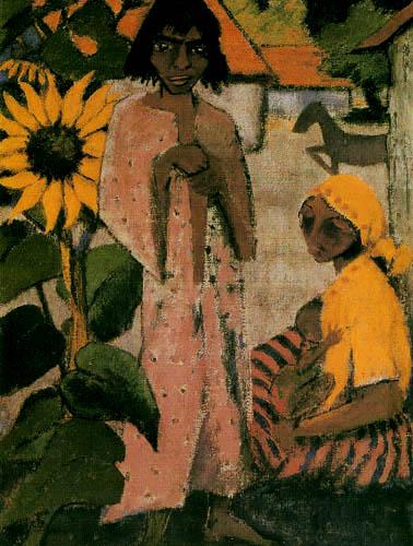 Otto Mueller - Zigeuner mit Sonnenblumen