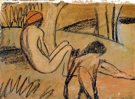 Otto Mueller - Zwei sitzende Mädchen