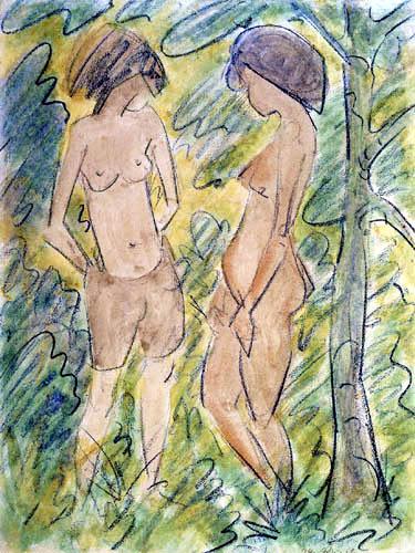 Otto Mueller - Zwei stehende Akte im Wald