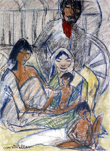 Otto Mueller - Zigeunerfamilie vor einem Wagen