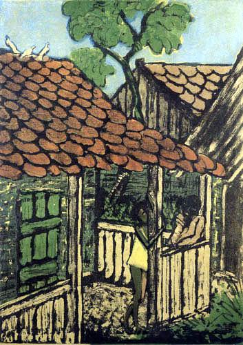 Otto Mueller - Zwei Zigeunerkinder vor einer Hütte
