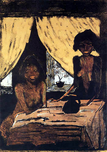Otto Mueller - Two gypsy children in the living room