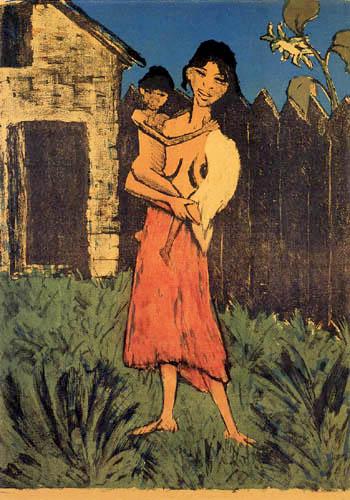 Otto Mueller - Stehende Zigeunerin mit Kind