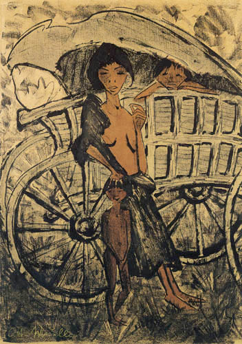 Otto Mueller - Gypsy with child before the covered wagon