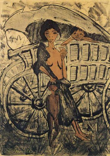 Otto Mueller - Zigeunerin mit Kind vor dem Planwagen