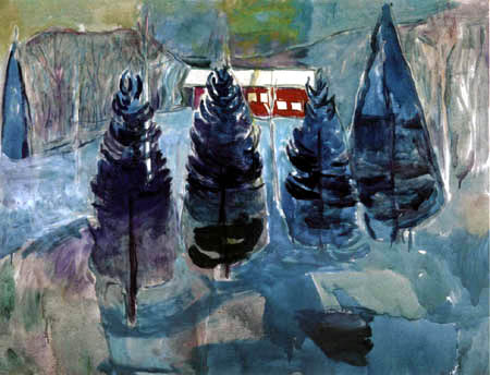 Edvard Munch - A red barn and fir trees