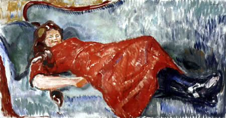 Edvard Munch - In a red dress on a blue green sofa