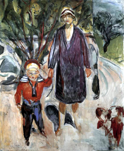 Edvard Munch - Woman in violet coat with son