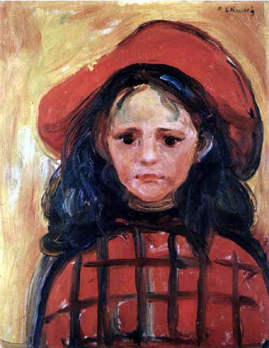Edvard Munch - Girl in red-checked dress and red hat