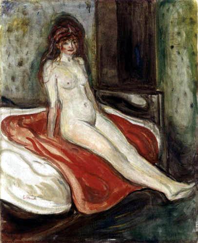 Edvard Munch - Nu féminin sur un chiffon rouge