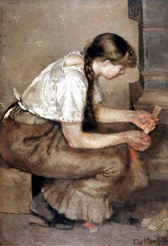 Edvard Munch - Young Girl lighting a Stove