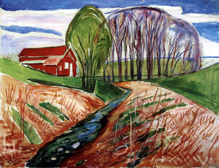 Edvard Munch - Spring landscape with red house