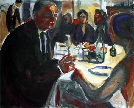 Edvard Munch - Autoportrait à la table de mariage II