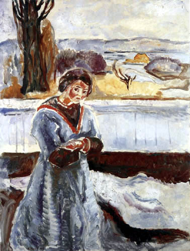 Edvard Munch - Femme en face de la maison de Grimsrød sur Jeløy