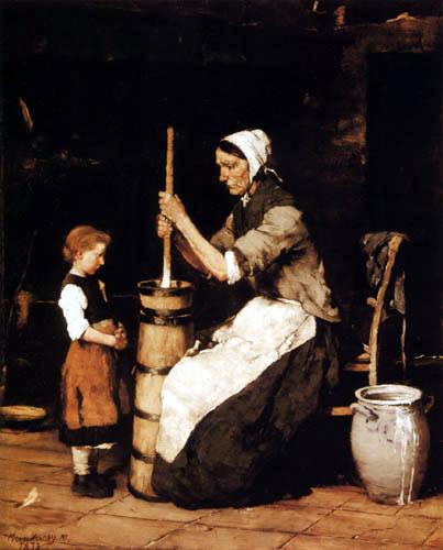 Mihály von Munkácsy - Frau beim Buttern