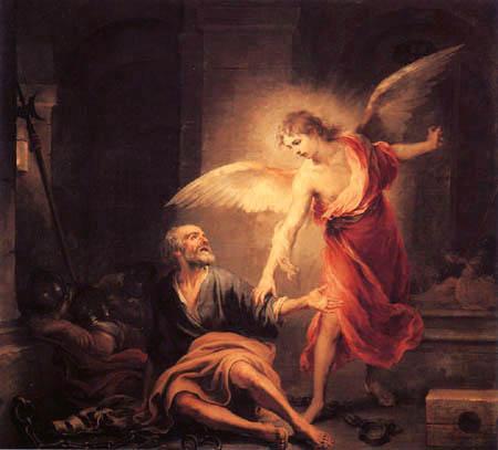 Bartolomé Esteban Murillo (Pérez) - Saint Pierre delivered by an angel