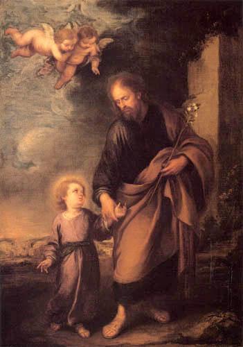 Bartolomé Esteban Murillo (Pérez) - Saint Joseph menant l´enfant Jésus par la main