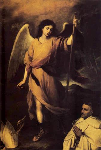 Bartolomé Esteban Murillo (Pérez) - Saint Raphaël et l´évèque Domonte