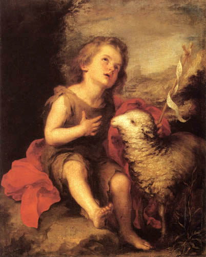 Bartolomé Esteban Murillo (Pérez) - John the baptist as child with the lamb