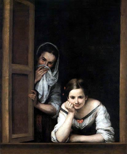 Bartolomé Esteban Murillo (Pérez) - Two woman in the window