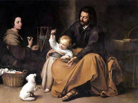 Bartolomé Esteban Murillo (Pérez) - The Holy Family with the Little Bird