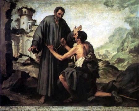 Bartolomé Esteban Murillo (Pérez) - Brother Juniper and the beggars